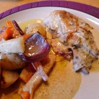 Helstekt kylling med sitron, hvitløk og urter