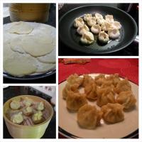 Svin og scampi dumplings